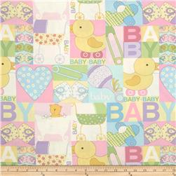 Baby Talk Baby Patch Pastel Pink Fabric