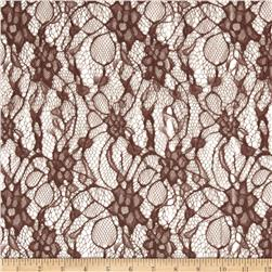 Nylon Lace Abstract Floral Jet Brown