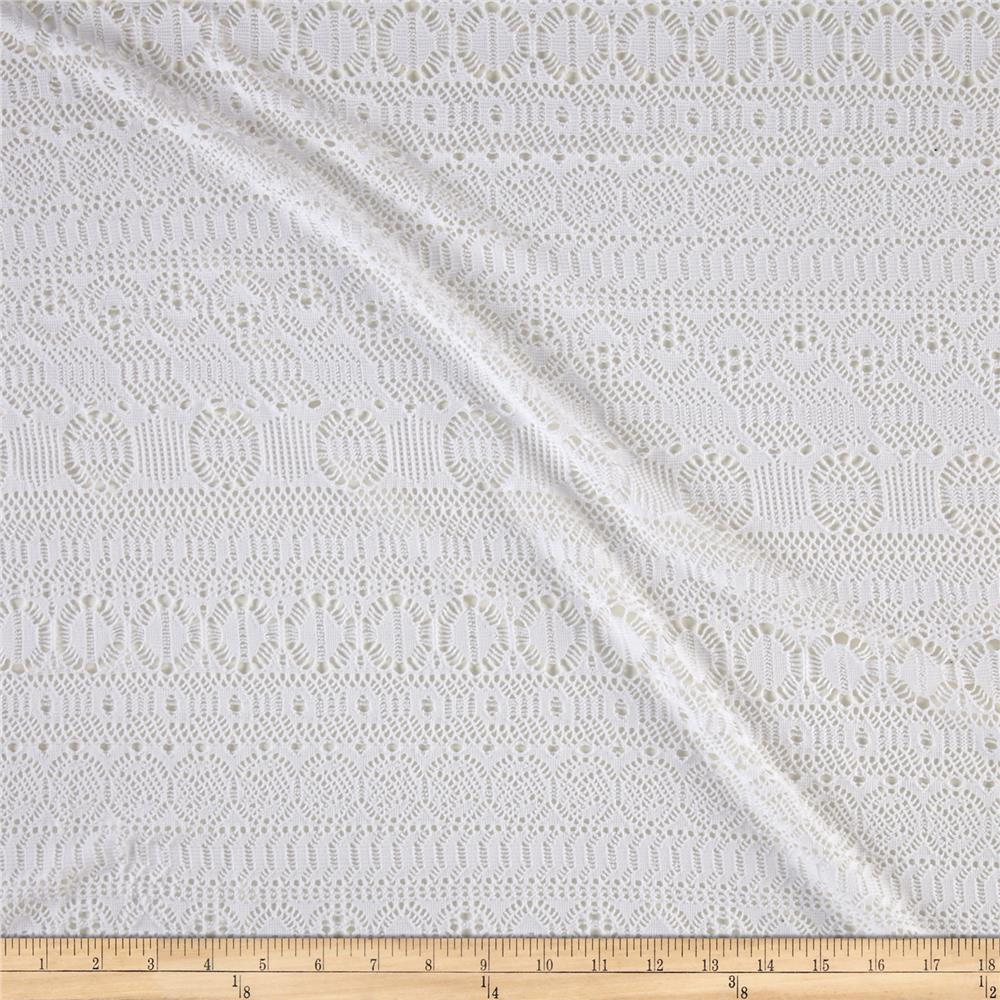 Stripe Crochet Lace Stretch Knit White Fabric By The Yard