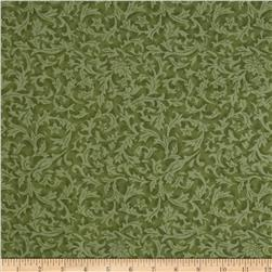 "110"" Wide Quilt Back Flannel Leaf Basil"