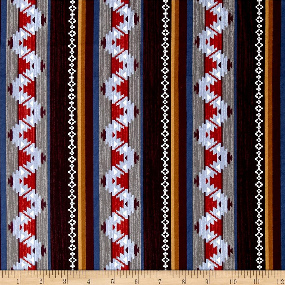 Moose Creek Lake Blanket Stripe Burgundy Fabric