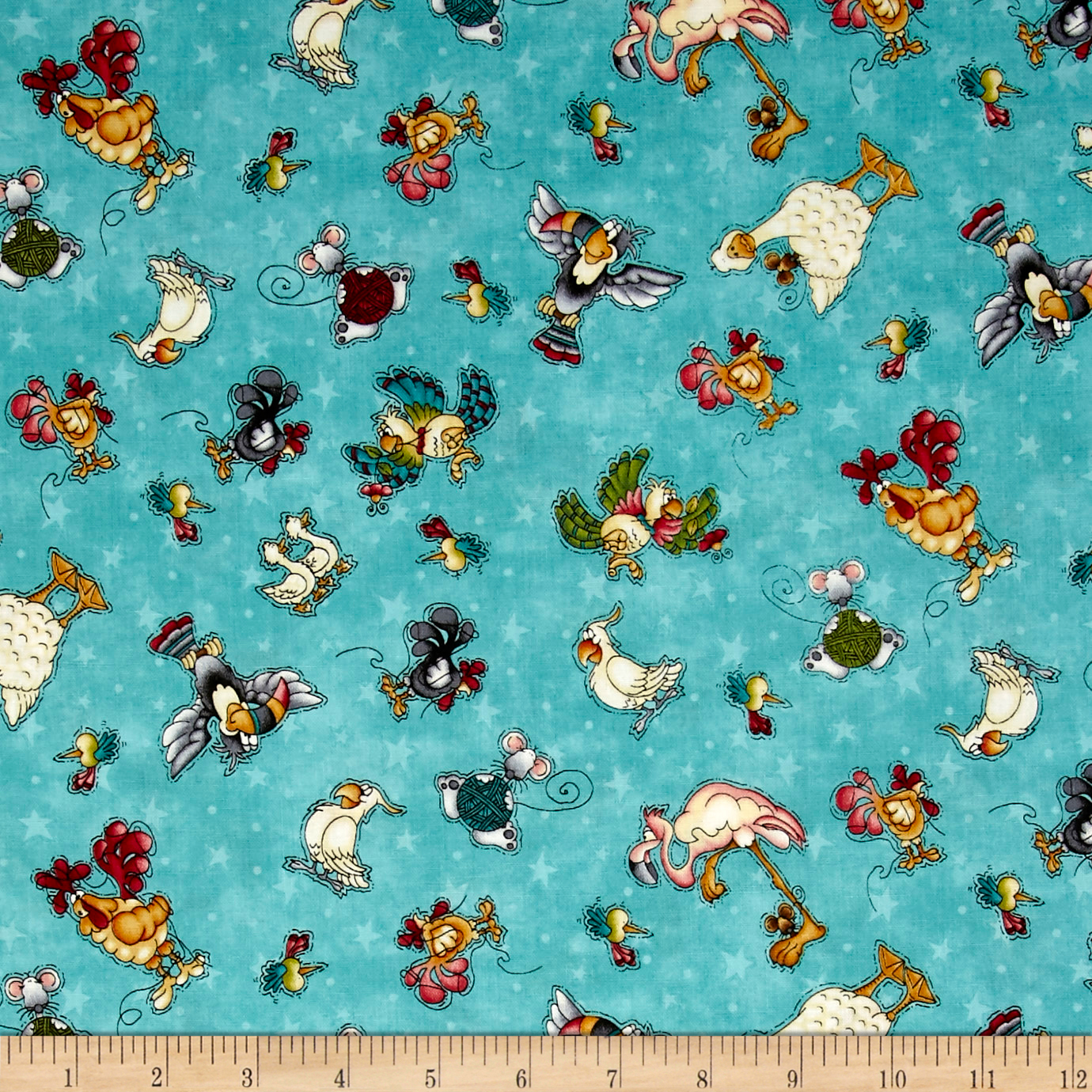 Image of No Fowl Play Small Character Toss Light Teal Fabric