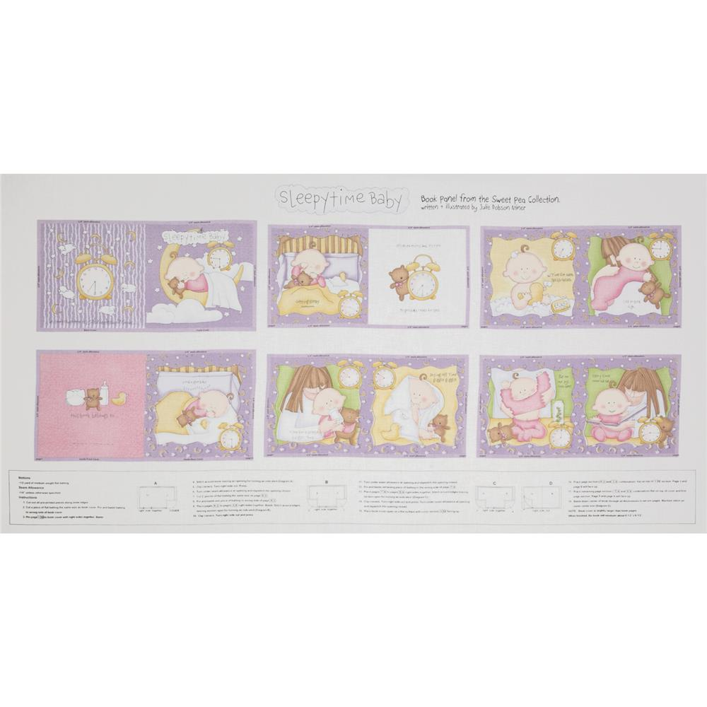 "Sweet Pea Sleepytime Soft Baby Book 24"" Panel Pink"