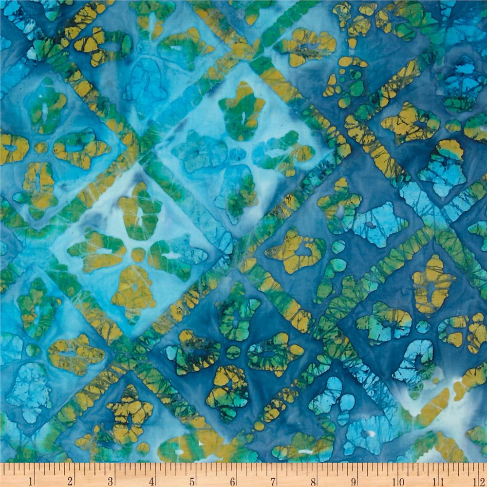Indian Batik Diamond Blue/Yellow