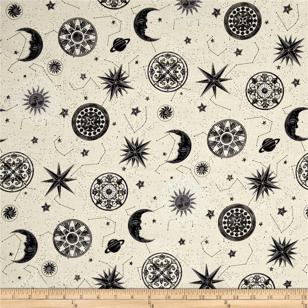 Star gazing metallic moons and stars parchment silver for Star design fabric