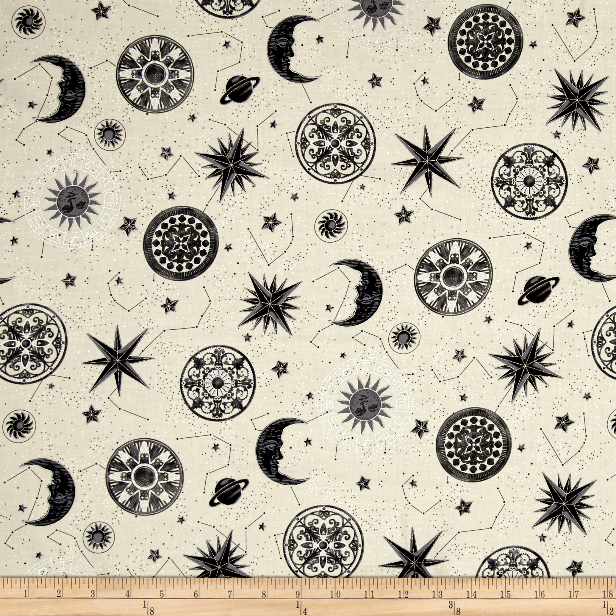 Star Gazing Metallic Moons And Stars Parchment/Silver Fabric by Hoffman of California in USA