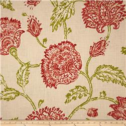 Duralee Home Agathe Floral Natural/Coral Red Fabric