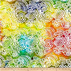 Indian Batik Cascades Paisley  Bright Multi