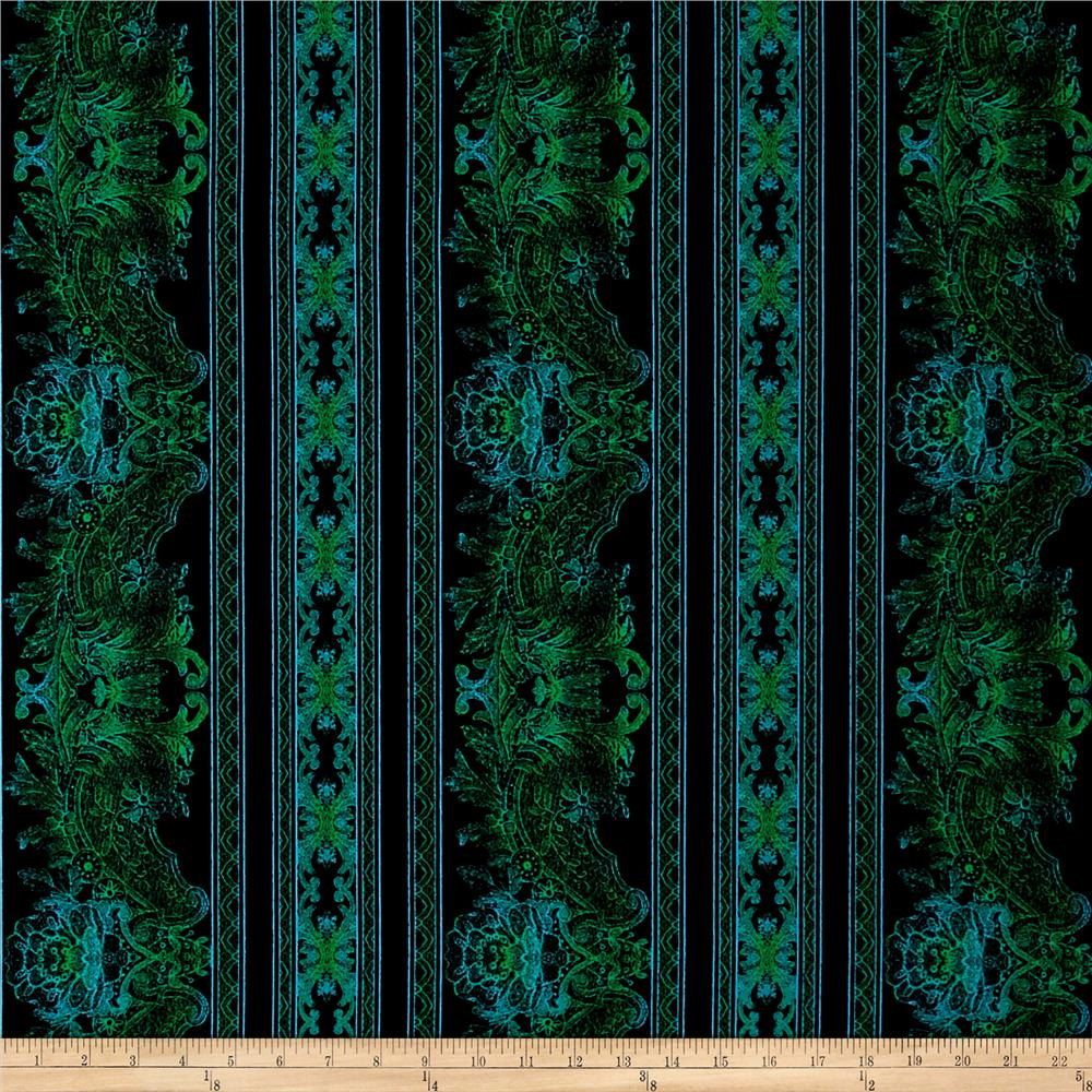 Jinny Beyer Burano Lace Border Turquoise Fabric