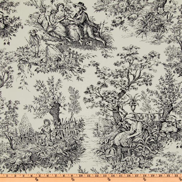 Timeless Treasures French Court Toile Black/Ivory