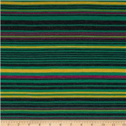 Designer Rayon Blend Jersey Knit Stripes Green/Yellow Fabric