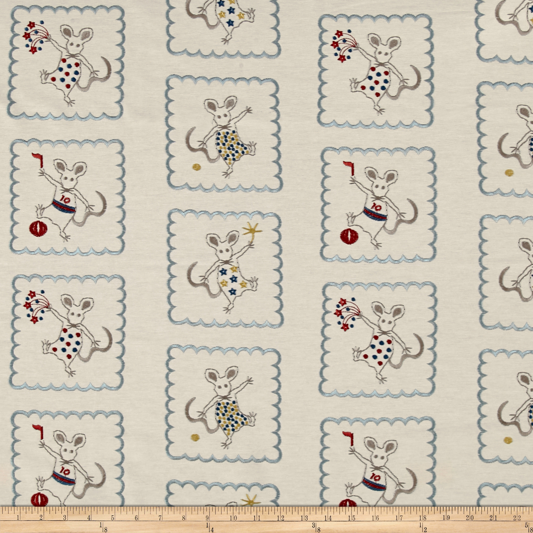 Golding by P Kaufmann Merry Mice Embroidered Fabric by Golding in USA