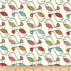 Timeless Treasures Enchanted Forest Birds Cream