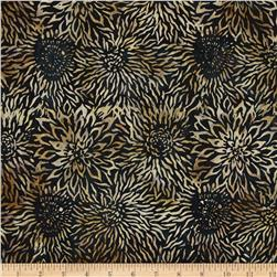 Timeless Treasures Tonga Batik Madrid Dahlias Black
