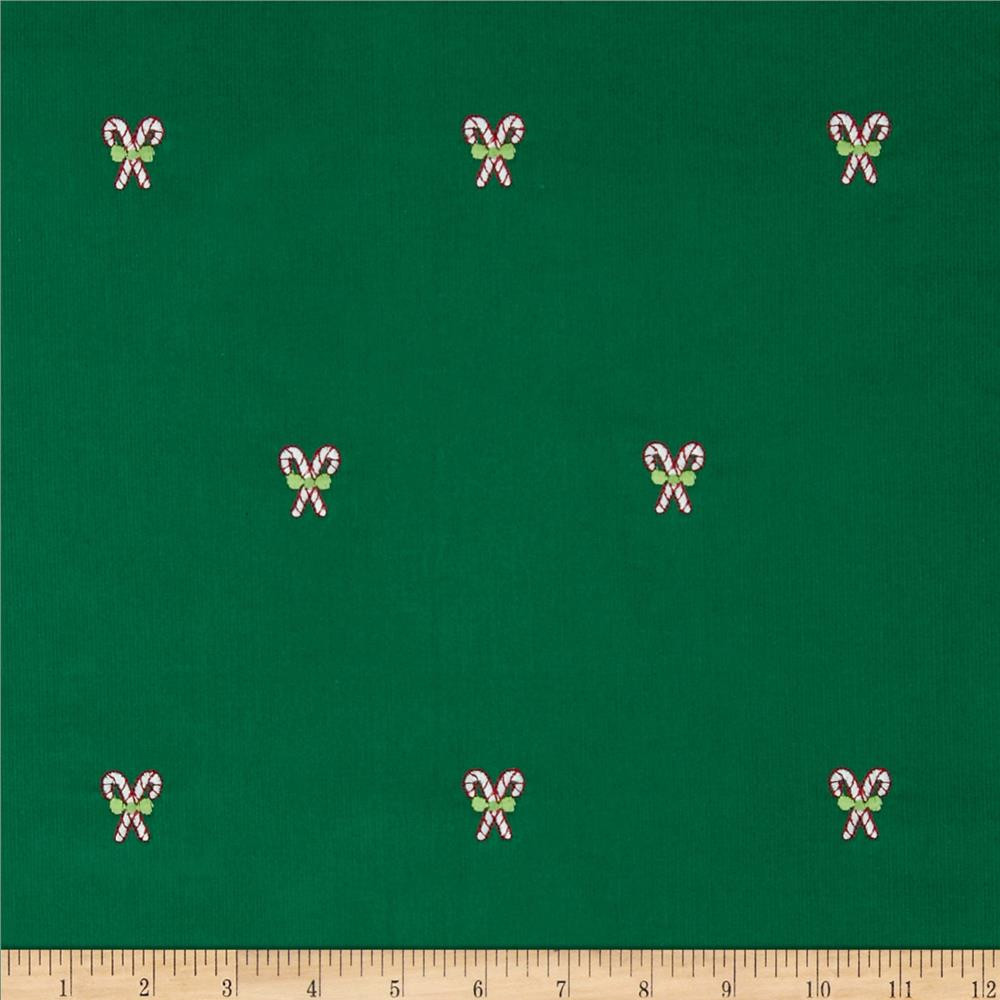 Embroidered 21 Wale Corduroy Candy Cane Green/White