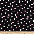 Stretch Poplin Dots Black/Pink/White