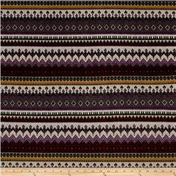 Sweater Knit Aztec Stripe Maroon