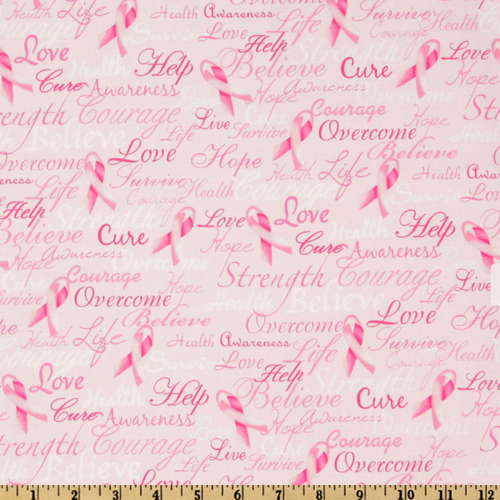 Timeless Treasures Pink Ribbons Of Hope Fabric