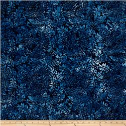 Batavian Batiks Wriggling Leaves Dark Blue