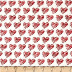 Moda #Love Scribble Hearts White/Red