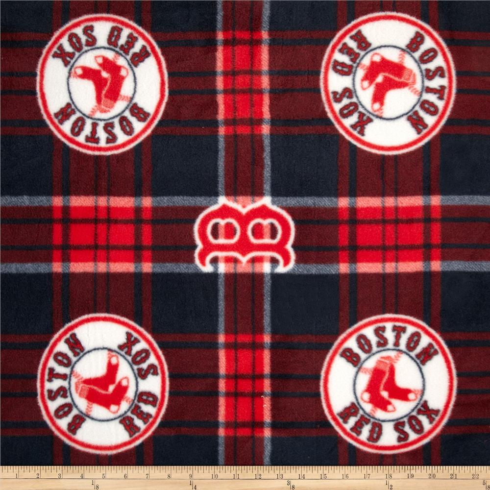 MLB Fleece Boston Red Sox Plaid Blue/Red Fabric By The Yard