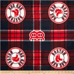 MLB Fleece Boston Red Sox Plaid Blue/Red Fabric
