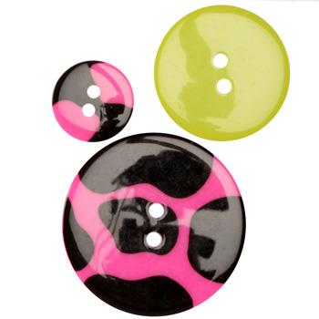 Fashion Buttons  5/8'', 1.00'', 1 3/8'' Coordinates Funky Cow Pink/Black/Lime