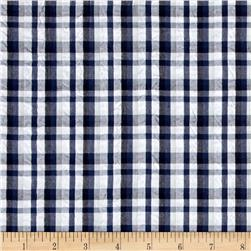 Kaufman Indigo Seersucker Plaid Black