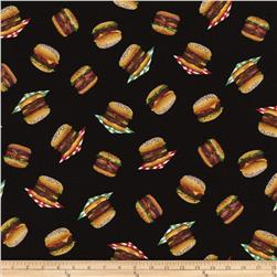 Timeless Treasures Got The Munchies? Mini Hamburgers Black