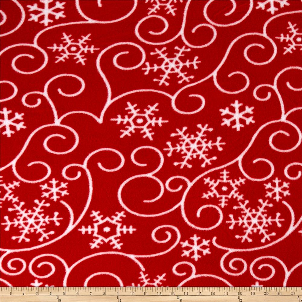 Printed Fleece Holiday Scrolls Red/White