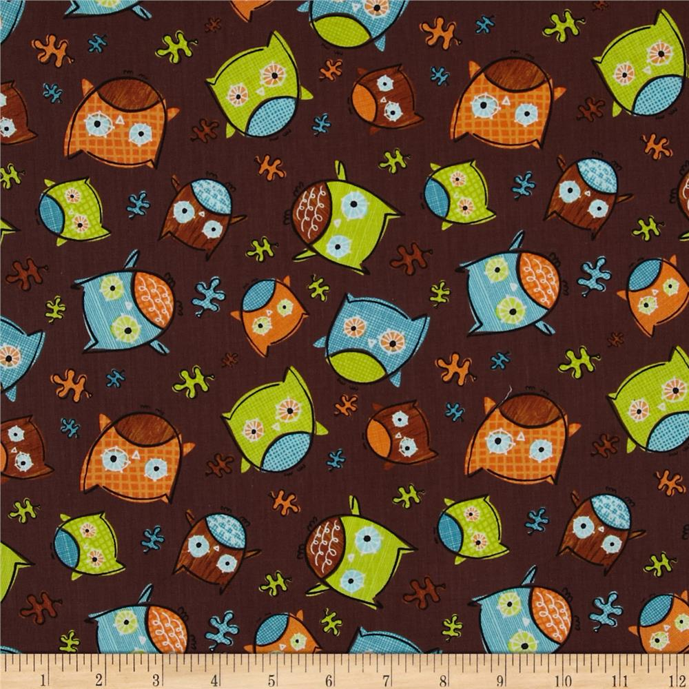 Frolicking Forest Owls Brown