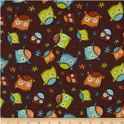 Frolicking Forest Owls Brown Fabric