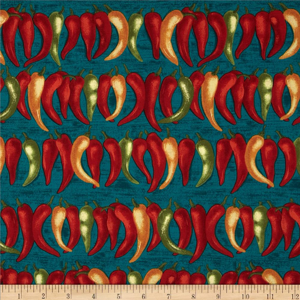 Michael Miller Painted Desert Chili Peppers Teal