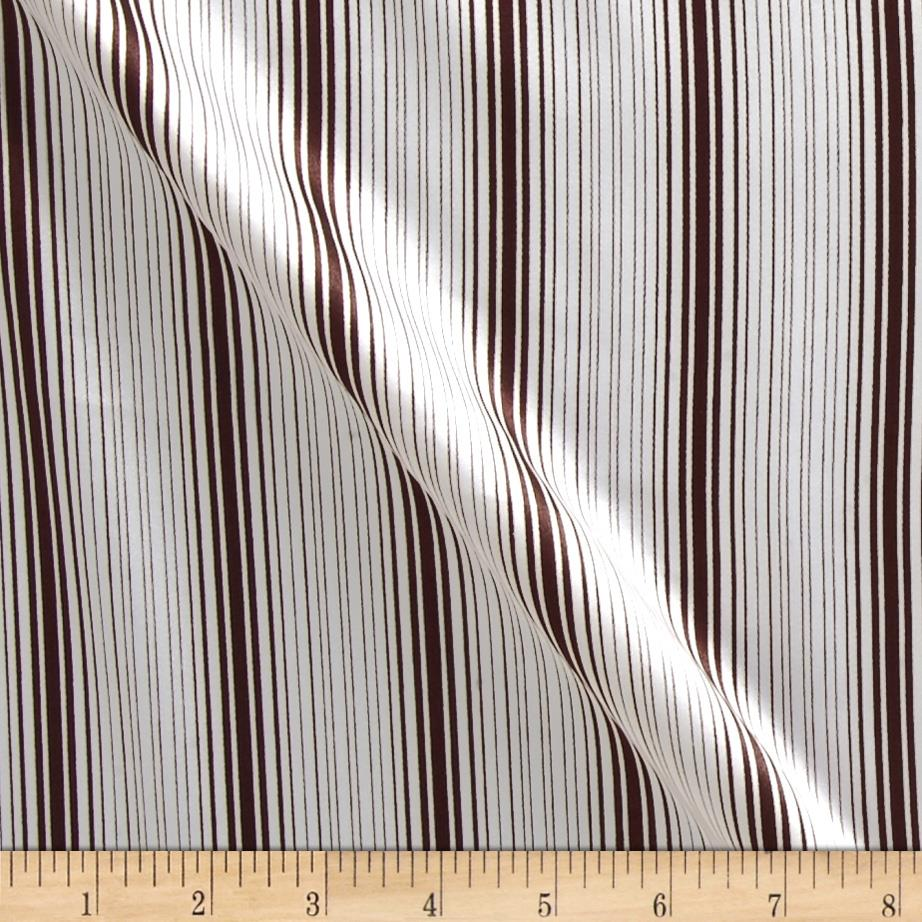 Charmeuse Satin Stripes Brown