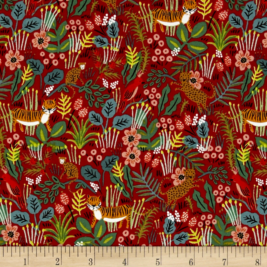 Image of Cotton + Steel Rifle Paper Co. Menagerie Jungle Red Fabric