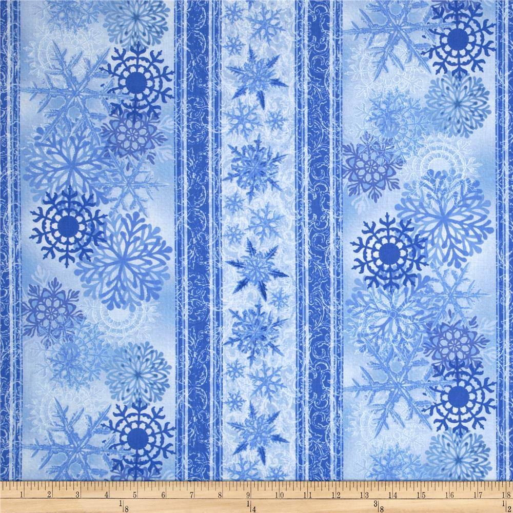 Timeless Treasures Blue Winter Snowflake Border Stripe Blue