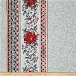 Kaufman Holiday Flourish Metallic Wide Double Border Silver