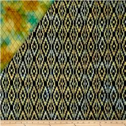 Indian Batik Double Face Quilted Ikat Aqua Yellow