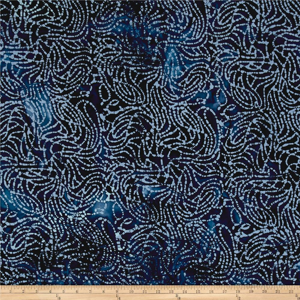 Indian Batik Moody Blues Small Swirl Blue