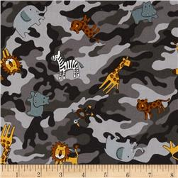 Kokka Jungle Animals Camo Grey