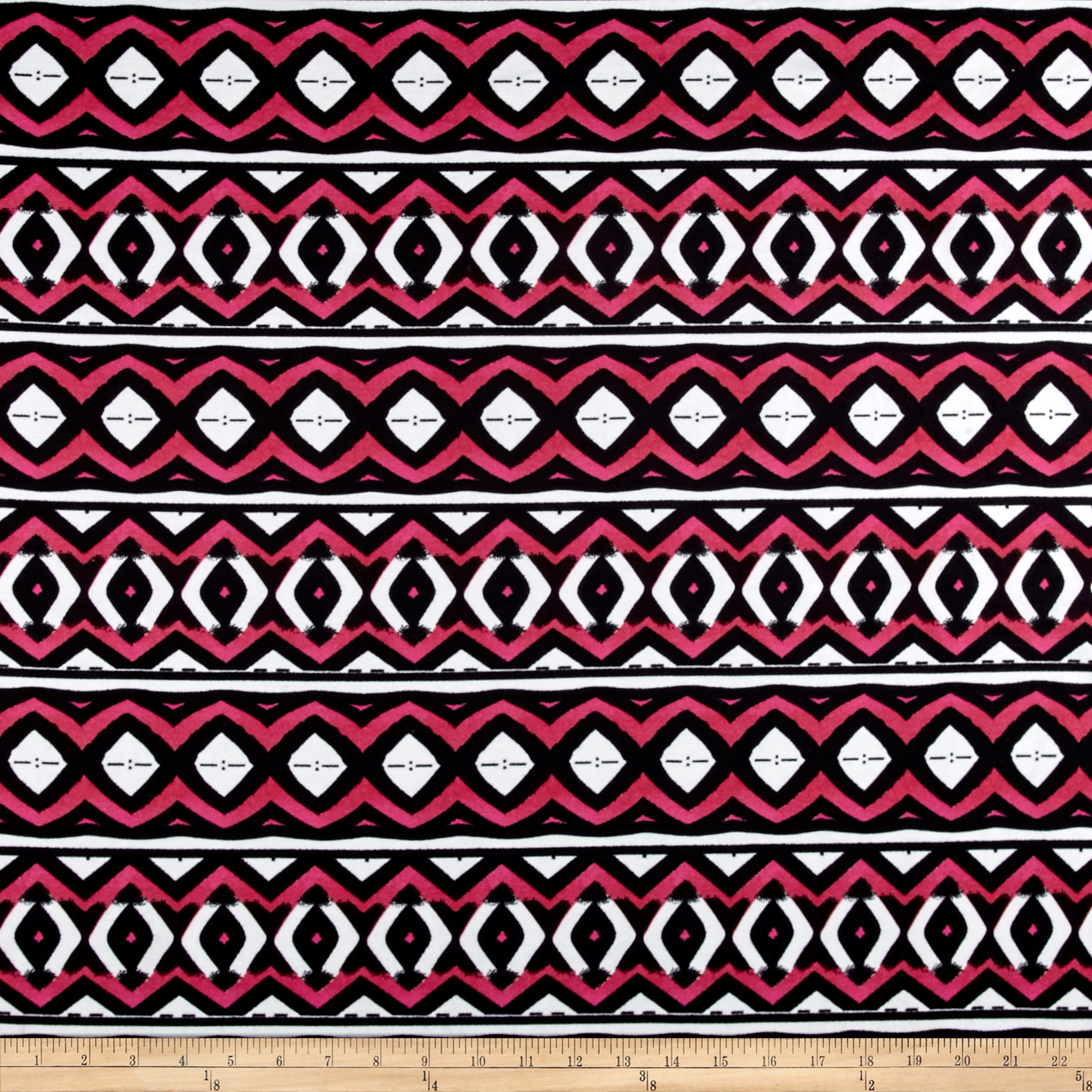 Ponte De Roma Bold Aztec Black/white/red Fabric