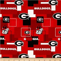 Collegiate Cotton Broadcloth University Of Georgia Block Print Red