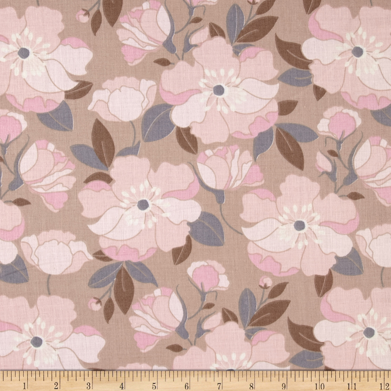Jackie Double Gauze Petals Caramel Fabric by Eugene in USA