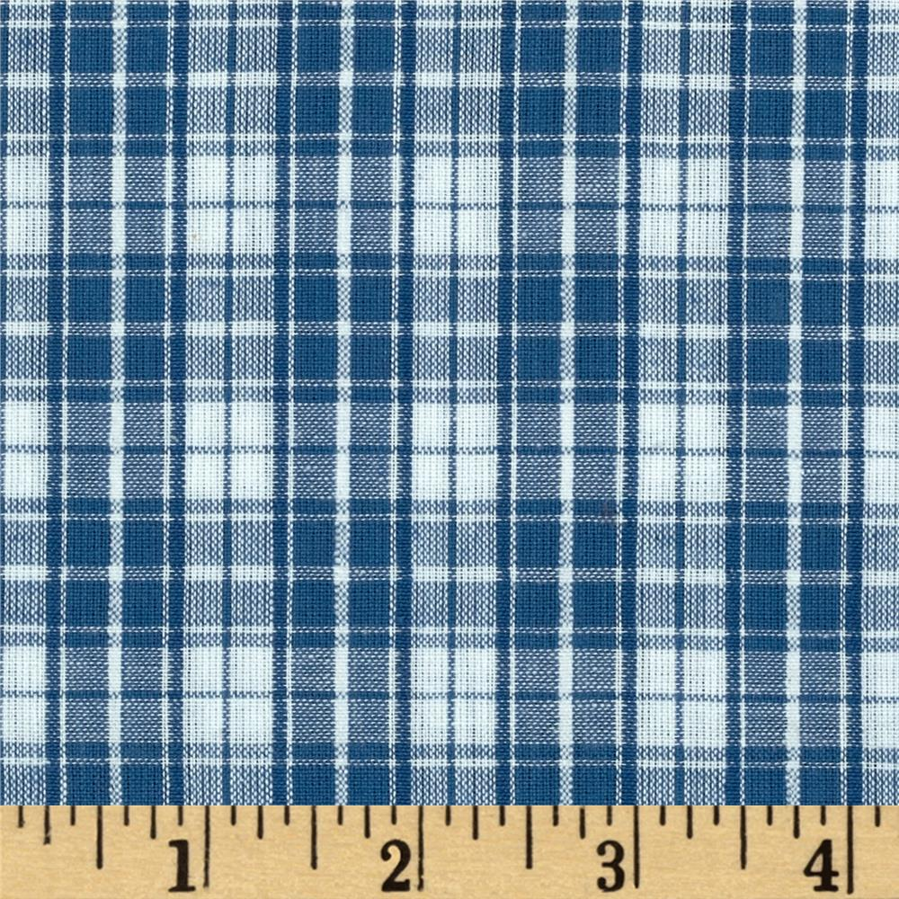 Seersucker Plaid Blue White Discount Designer Fabric
