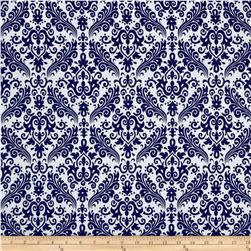 Riley Blake Medium Damask White/Navy Fabric