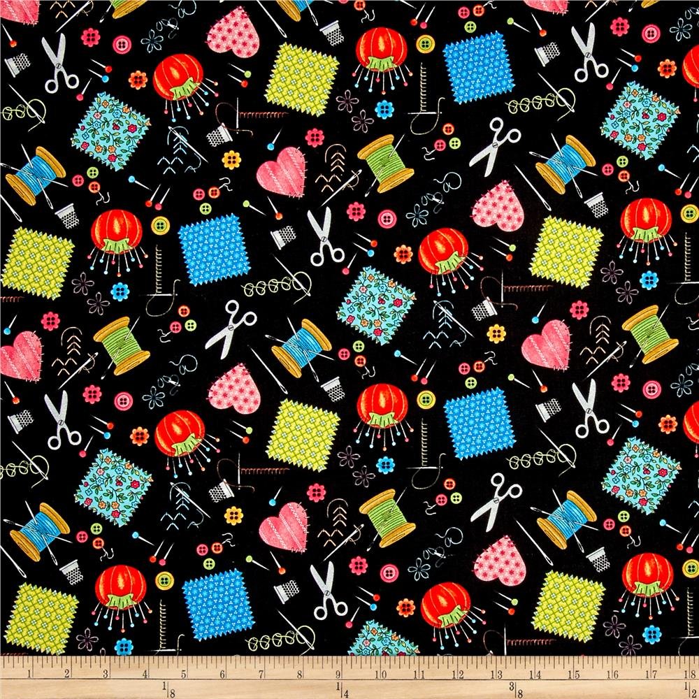 Shop hop sewing notions black discount designer fabric for Dressmaking fabric