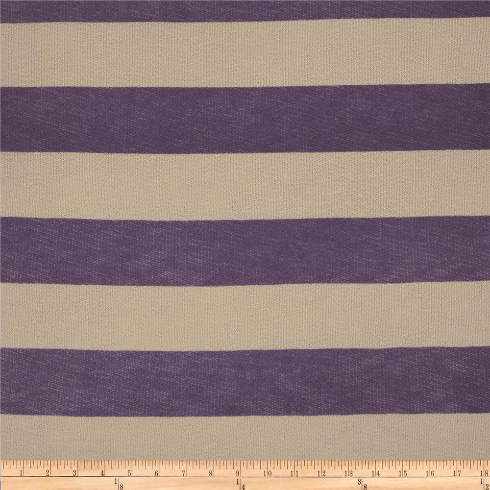 Designer Sweater Knit Stripes Purple/Sand