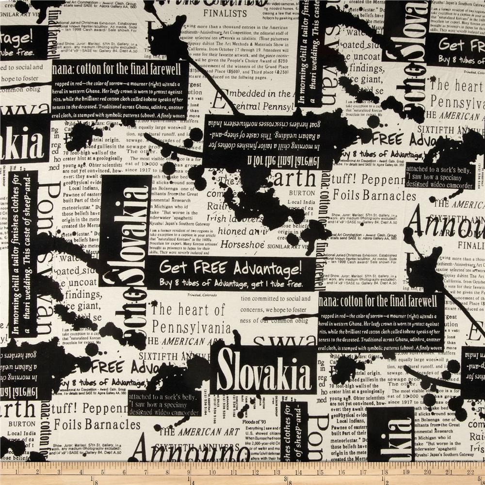 Dakota Jersey Knit Newspaper Print Black
