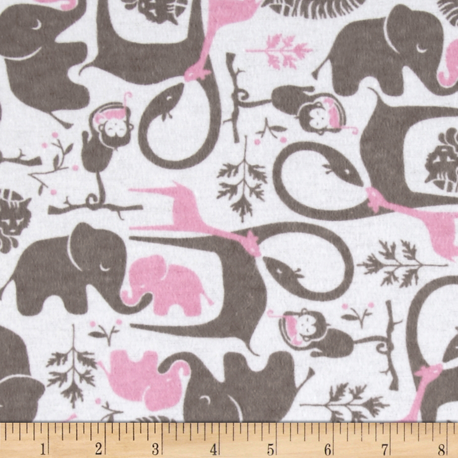 Flannel Zoo Animals Candy Pink Fabric