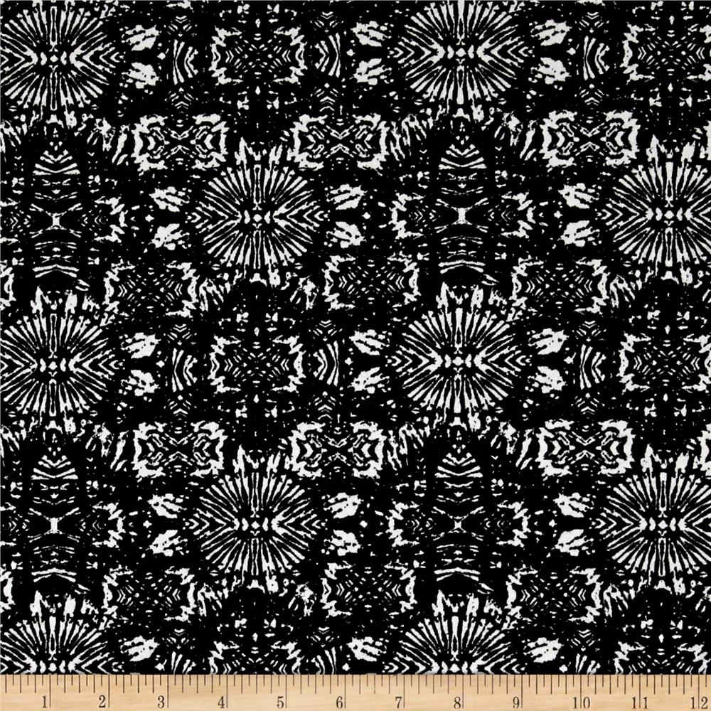 French Designer Cotton Jersey Knit Abstract Black/White Fabric